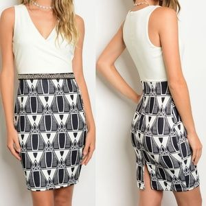 Dresses & Skirts - Mixed Print Bead Embellished Sheath Dress